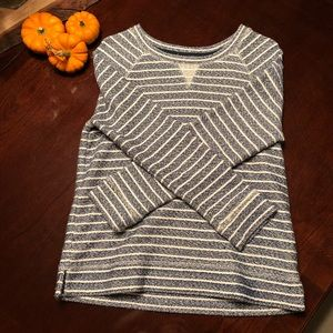 LOFT Lou & Grey Blue and White Striped Sweatshirt